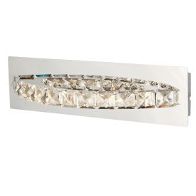 Clover Led Curved Chrome Metal Wall Bracket, Clear Crystal Decoration