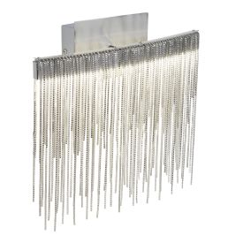 Led Wall Bracket, Satin Silver, Chain Link Waterfall Dressing