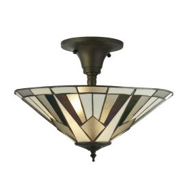 Gatsby, Tiffany Semi Flush Light, Bronze/black/clear/white/multi