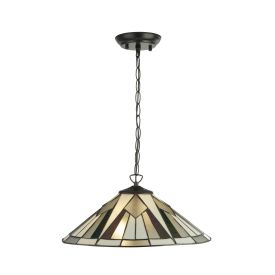 Gatsby Tiffany 2lt Pendant, Bronze/black/clear/white/multi