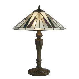 Gatsby Tiffany Table Lamp Bronze/black/clear/white/multi