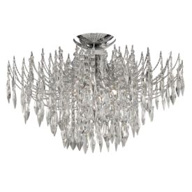 Waterfall Chrome 4 Light Semi-flush Fitting With Crystal Buttons & Drops