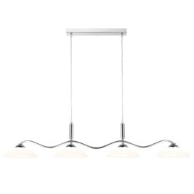Chrome 4 Light Bar Pendant With Frosted Glass Shades