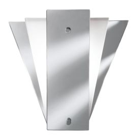 Fan Style Mirror Wall Light With Mirror & Frosted Glass Back Panels
