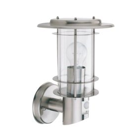 Stainless Steel Ip44 Outdoor Light Motion Sensor, Clear Polycarbonate Shade