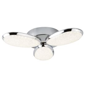 Chrome, 3 Light Led Ceiling Flush Fitting, Crushed Ice Effect Shade