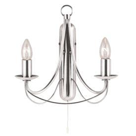 Maypole Satin Silver 2 Light Wall Bracket, Birdcage Design, Switched