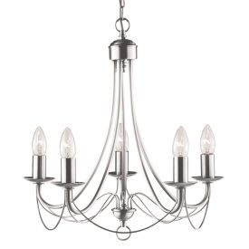Maypole Satin Silver 5 Light Multi-arm Fitting, Birdcage Design, Switched