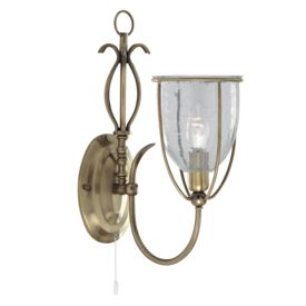 Silhouette Antique Brass Wall Light With Clear Seeded Glass Shade, Switched