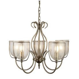 Silhouette Antique Brass 5 Light Fitting With Clear Seeded Glass Shades