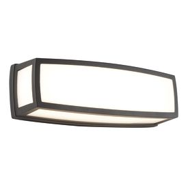 Aluminium Outdoor Led Rectangle, Dark Grey, Opal, Polycarbonate Shade Wb/ Flush