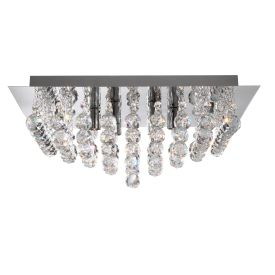 Hanna Chrome 4 Light Square Semi-flush With Clear Facetted Crystal Balls