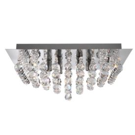 Hanna Chrome 6 Light Square Semi-flush With Clear Facetted Crystal Balls