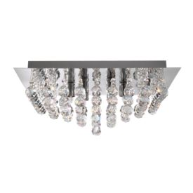 Hanna Chrome 8 Light Square Semi-flush With Clear Facetted Crystal Balls