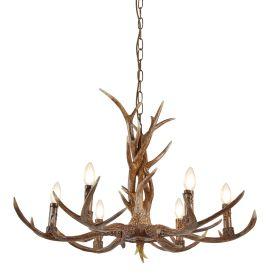 6 Light Antler Ceiling Fitting, Rustic Brown Resin Finish