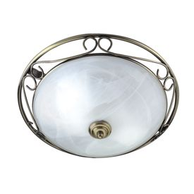 Antique Brass Flush Fitting With Marble Glass Diffuser