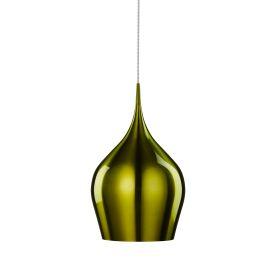 Vibrant Anodised Aluminium, Large Green Bell Pendant, Braided Cable, Adjustable