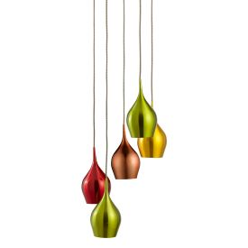 Vibrant Anodised Aluminium, 5 Light Multi-drop Pendant Multi-coloured