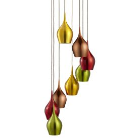 Vibrant Anodised Aluminium, 8 Light Multi-drop Pendant Multi-coloured