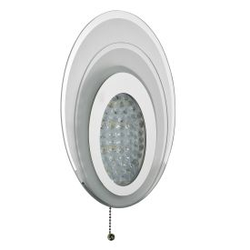 Led Oval Chrome Wall Light With Glass & Crystal Beads