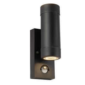Outdoor Pir 2 Light Cylinder  Pp Wall Bracket, Black