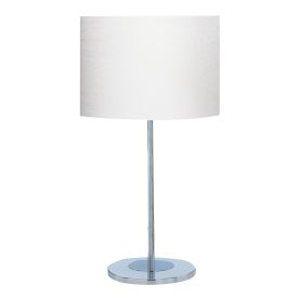 Chrome Round Base Table Lamp With White Fabric Shade