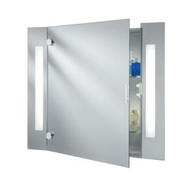 Ip44 Illuminated Bathroom Mirror Cabinet With Shaver Socket, Switched