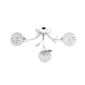Bellis Ii Chrome 3 Light Fitting With Clear Glass Metal Shades
