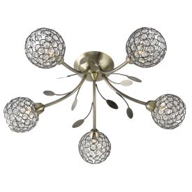 Bellis Ii Antique Brass 5 Light Fitting With Clear Glass Metal Shades