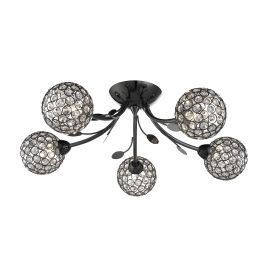 Bellis Ii Black Chrome 5 Light Ceiling Fitting With Clear Glass Metal Shades
