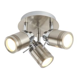 Satin Silver, 3 Light Ip44 Bathroom Round Spotlight Plate, Adjustable Heads