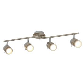 Satin Silver, 4 Light Ip44 Bathroom Spot Split-bar, Adjustable Heads