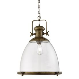 Industrial Pendant Large 1 Light , Painted Antique Brass, Clear Glass