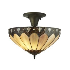 Pearl, Tiffany Semi Flush Clear/brown/purple