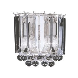 Sigma Chrome 2 Light Wall Bracket With Clear Acrylic Crystal Prisms & Balls