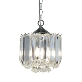 Sigma Chrome 3 Light Fitting With Clear Acrylic Crystal Prisms & Balls