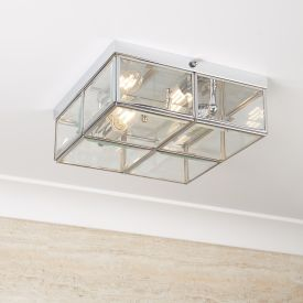 Chrome 2 Light Flush Fitting With Clear Bevelled Glass Shade