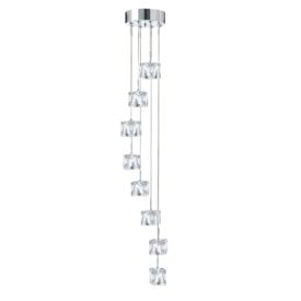 Chrome Led Ice Cube Clear Glass 8 Light Fitting, Adjustable Height