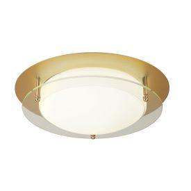 Led Flush Light, 38cm, Gold With Glass Halo Ring