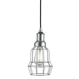 Chrome Bell Cage Pendant Light
