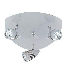 Falcon Satin Silver 3 Light Triangular Ceiling Spotlight, Adjustable