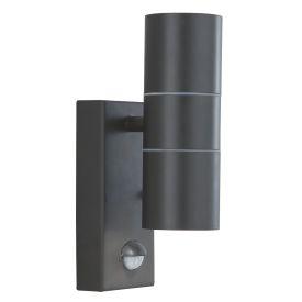 Stainless Steel Black Ip44 2 Light Outdoor Light With Motion Sensor