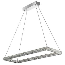 Clover Chrome Led Rectangle Ceiling Light Fitting With Crystal Glass, Adjustable