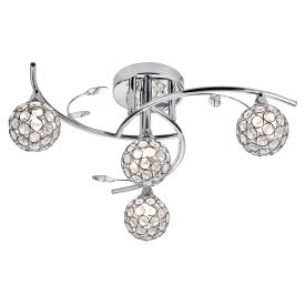 Dimple Chrome 4 Light Semi-flush Fitting With Round Glass/metal Button Shades