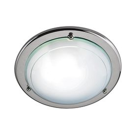 Silver Flush Light Fitting With White & Clear Glass Diffuser