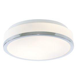 Ip44 2 Light Flush Fitting With Opal Glass Shade & Chrome Trim