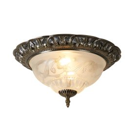 Antique Brass Flush Light With Clear & Frosted Glass Diffuser
