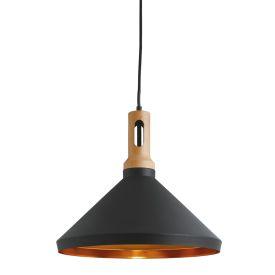Wong Black Pendant Light With Gold Inner, Wood D'cor, Adjustable