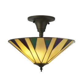 Charlston, Tiffany Semi Flush, Yellow/multi