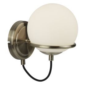 1 Light Wall Bracket, Antique Brass, Black Braided Cable, Opal White Glass Shade